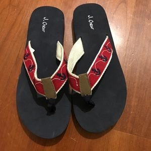 J. Crew red with blue anchors flip flops size 7